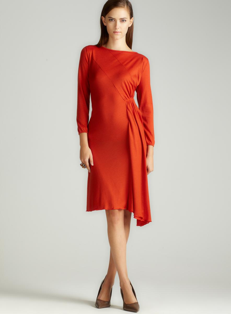 JPG Soleil Side Rouched Wool Dress