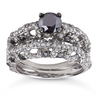 Sterling Silver 2ct TDW Black and White Diamond Bridal Ring Set (5 options available)