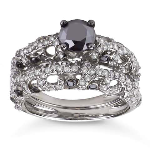 Sterling Silver 2ct TDW Black and White Diamond Bridal Ring Set