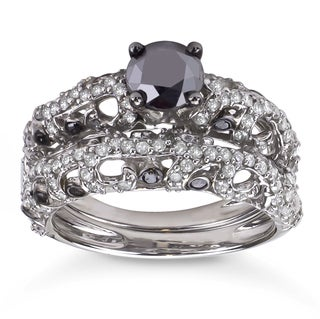 Sterling Silver 2ct TDW Black and White Diamond Bridal Ring Set (H-I, I1-I2)