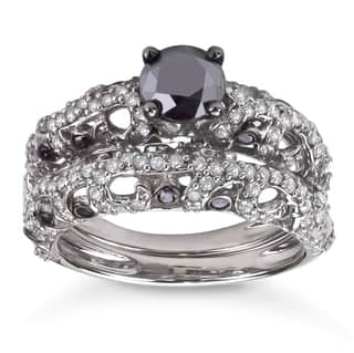Sterling Silver 2ct TDW Black and White Diamond Bridal Ring Set|https://ak1.ostkcdn.com/images/products/7292986/7292986/Sterling-Silver-2ct-TDW-Black-and-White-Diamond-Bridal-Ring-Set-H-I-I1-I2-P14766648.jpg?impolicy=medium