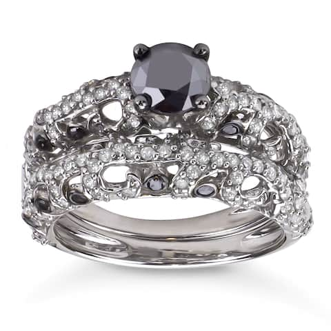 Sterling Silver 2ct TDW Black and White Diamond Bridal Ring Set