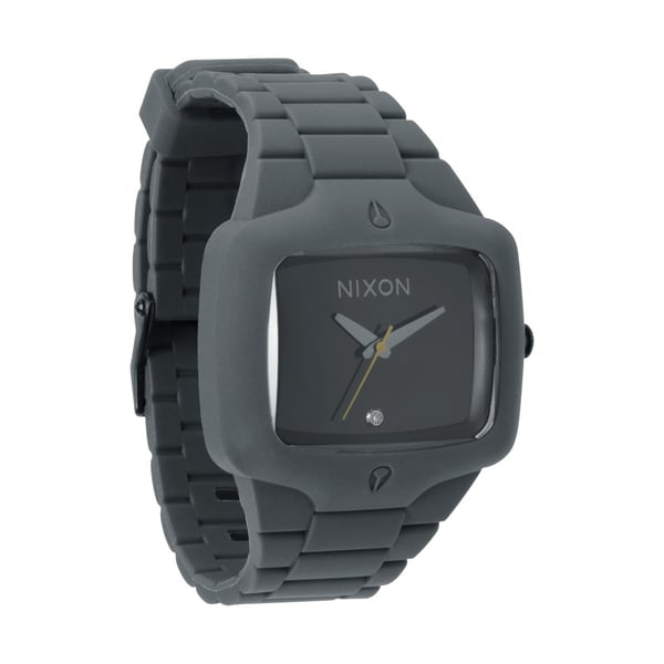 Nixon Men's Grey and Black Rubber Player Watch