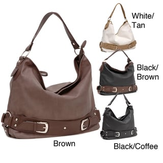 Dasein Buckle Accented Faux Leather Hobo Bag