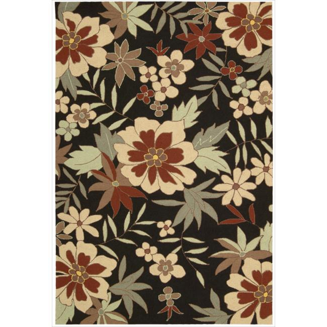 Nourison Rainforest Black Floral Rug