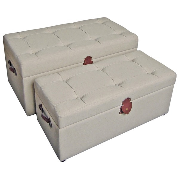 International Caravan Bradford Fabric Trunk/ Bench (Set of 2)