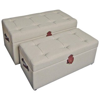 International Caravan Bradford Fabric Trunk/ Bench (Set of 2)