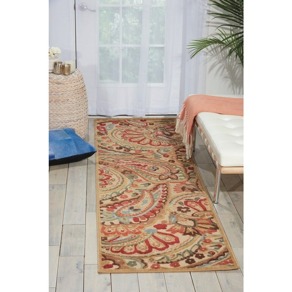 Nourison Graphic Illusions Paisley Red Multi Rug - 2'3 x 8'