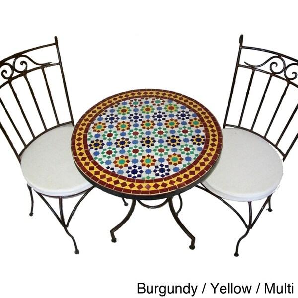 Round Iron Mosaic Three-Piece Dining Patio Set (Morocco)