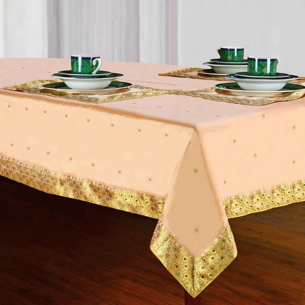 Handmade Golden Sari Table Cloth (India)