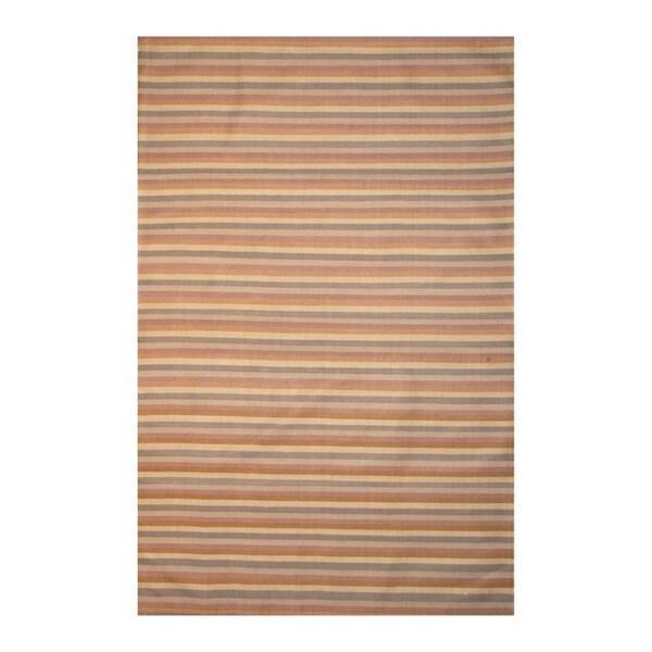 Indo Hand-tufted Flat Weave Brown/ Blue Kilim Rug (5'6 x 8')
