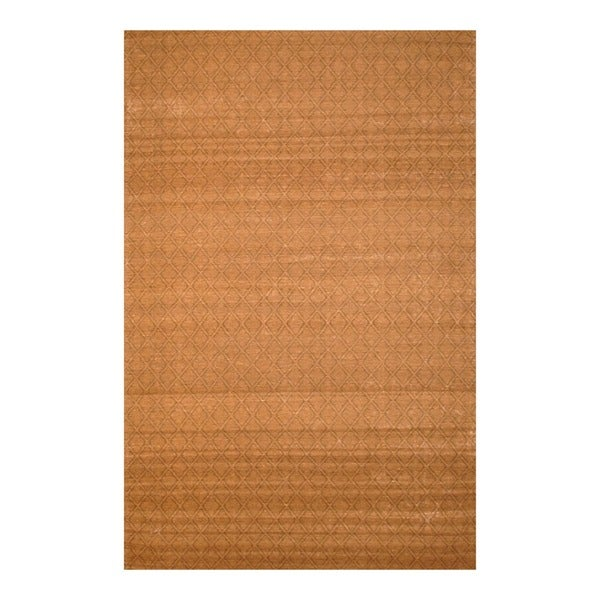 """Indo Hand-Tufted Flat-Weave Brown/Light Brown Kilim Area Rug (5'6"""" x 8')"""