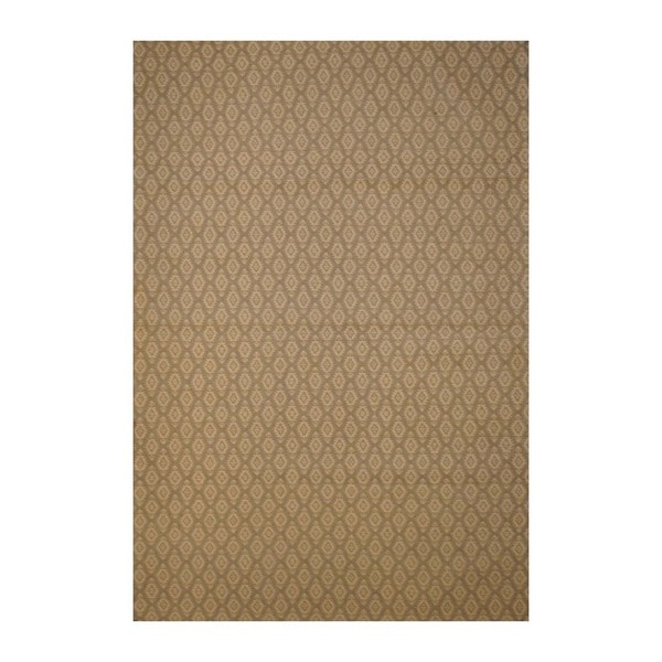 Indo Contemporary Hand-Tufted Flat Weave Beige/Ivory Kilim Rug (5'6 x 8')