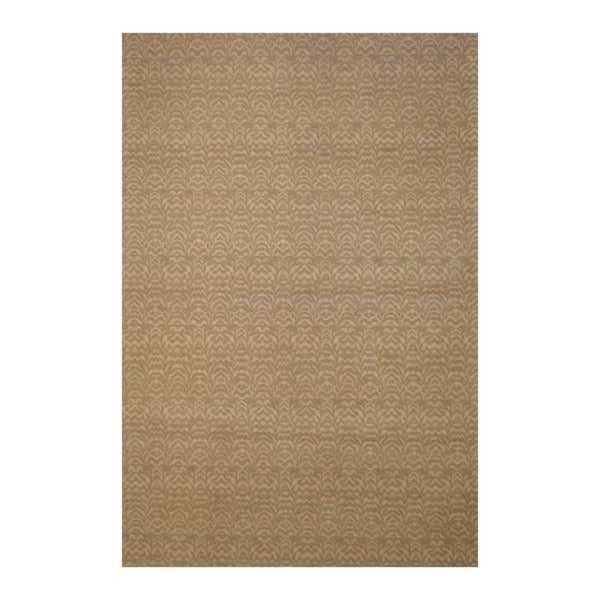 Indo Floral Hand-Tufted Flat Weave Beige/Ivory Kilim Rug (5'6 x 8')