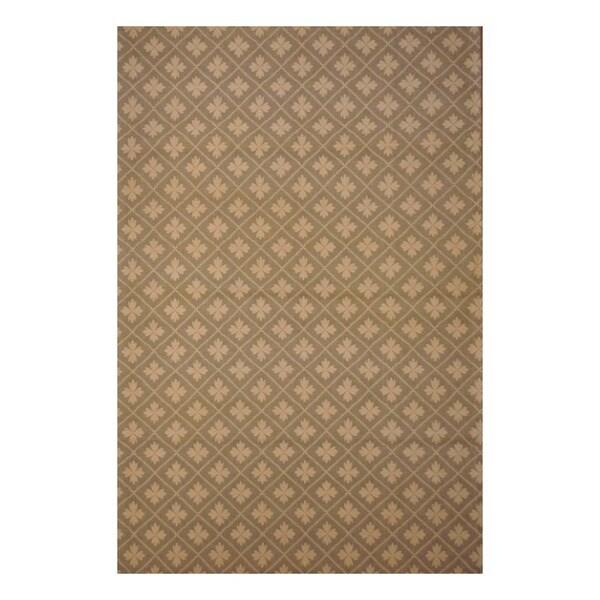 Indo Patterned Hand-Tufted Flat Weave Beige/Ivory Kilim Rug (5'6 x 8')