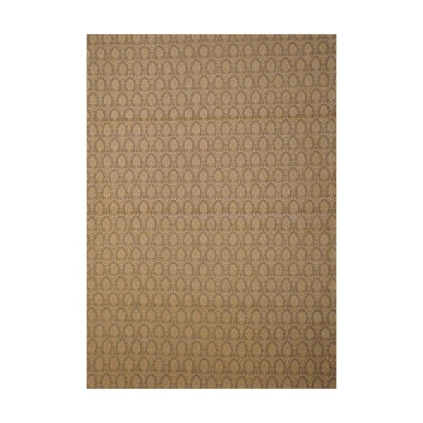 Indo Embroidered Floral Hand-Tufted Flat Weave Beige/Ivory Kilim Rug (5'6 x 8')
