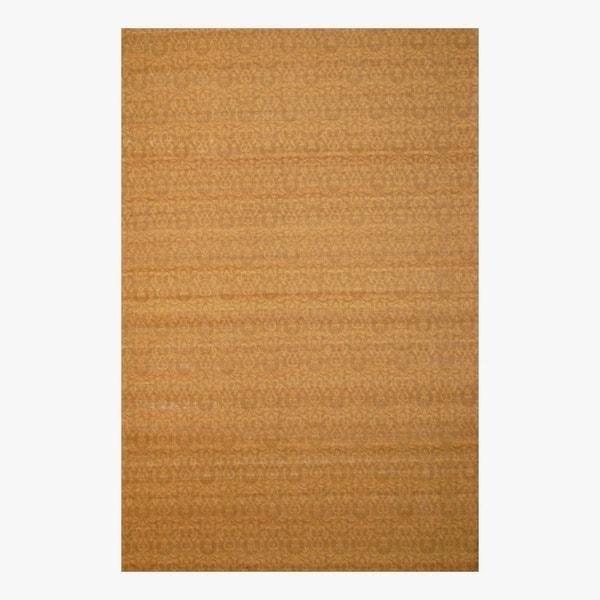 Indo Hand-tufted Flat Weave Gold/ Light Brown Kilim Rug (5'6 x 8')