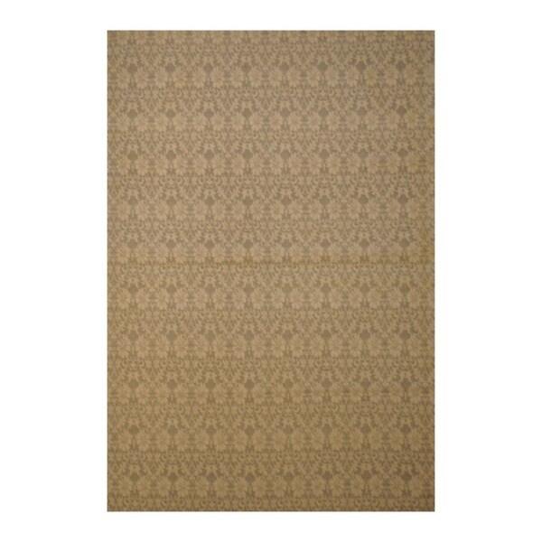 Embroidered Wool Indo Hand-Tufted Flat Weave Beige/Ivory Kilim Rug (5'6 x 8')