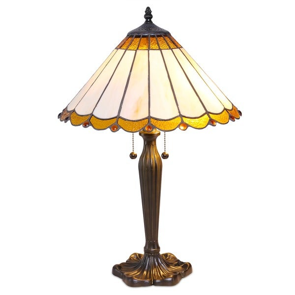 tiffany style scallop table lamp free shipping today. Black Bedroom Furniture Sets. Home Design Ideas