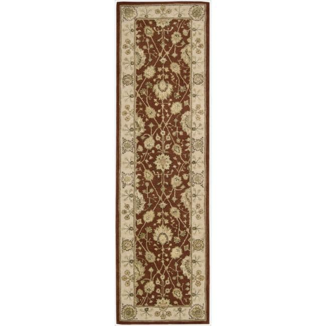 Nourison 3000 Hand-tufted Rust Wool Rug (2'3 x 8') Runner