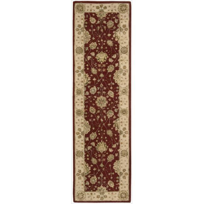 Nourison 3000 Hand-tufted Red Wool Rug (2'3 x 8') Runner
