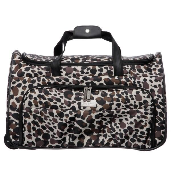 Nicole Miller 21-inch Camo Cheetah Wheeled Carry On Upright Satchel Duffel Handbag