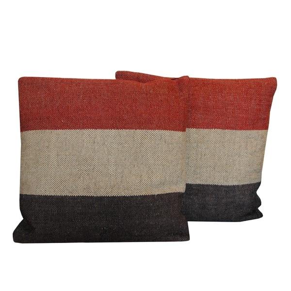 Handmade Herat Oriental Indo Kilim Throw Pillows (Set of 2)