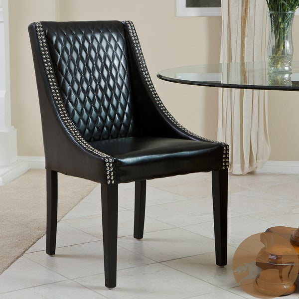 Mandolin Quilted Black Leather Chair (Single) by Christopher Knight Home