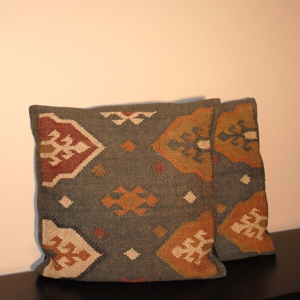 Tribal Indo Kilim Jute Pillows (Set of Two)