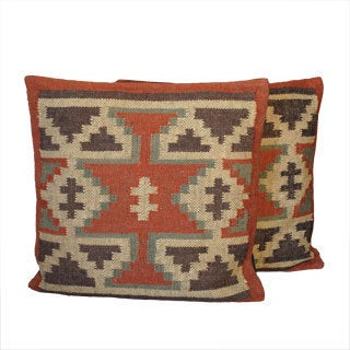 Tribal Indo Kilim Traditional Pillows (Set of Two)