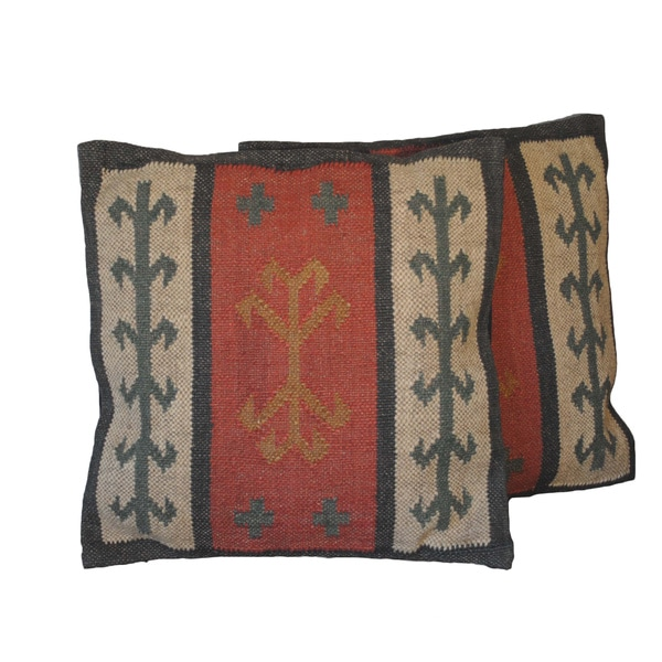 Tribal Indo Kilim 20-Inch Pillows (Set of Two)