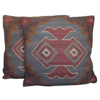 Handmade Herat Oriental Multicolor Tribal Indo Kilim Set of 2 Pillows (India)