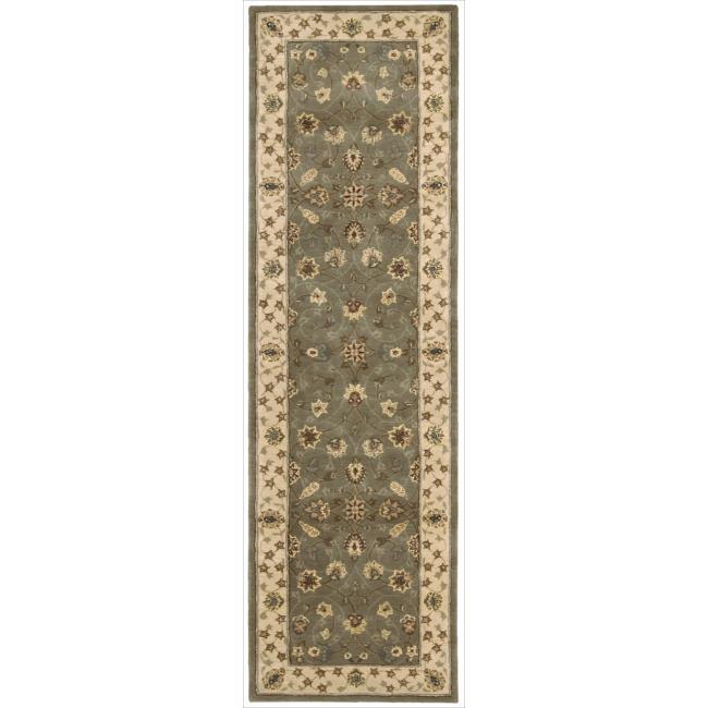 Nourison 2000 Hand-tufted Tabriz Green Rug (2'3 x 8')