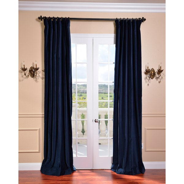 Exclusive Fabrics Indigo Blue Vintage Cotton Velvet Curtain