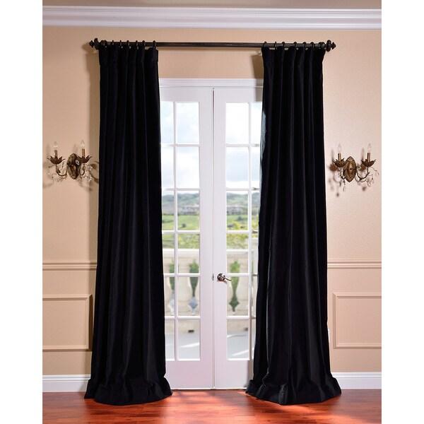 Exclusive Fabrics Ebony Black Vintage Cotton Velvet Curtain