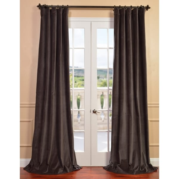 Exclusive Fabrics Iron Grey Vintage Cotton Velvet Curtain