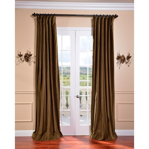 Exclusive Fabrics Burnt Olive Vintage Cotton Velvet Curtain
