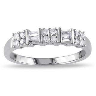 Link to Miadora 10k White Gold 1/4ct TDW Channel-set Baguette and Round-cut Diamond Stackable Anniversary/ W Similar Items in Wedding Rings
