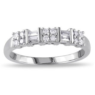 Miadora 10k White Gold 1/4ct TDW Channel-set Baguette and Round-cut Diamond Stackable Anniversary/ W|https://ak1.ostkcdn.com/images/products/7294815/P14768127.jpg?_ostk_perf_=percv&impolicy=medium