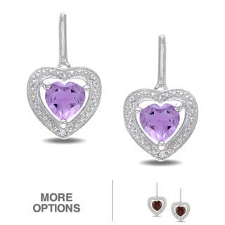 Miadora Sterling Silver Gemstone and Diamond Heart Earrings (H-I, I2)