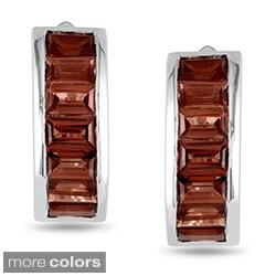 Miadora Sterling Silver Baguette-cut Gemstone Cuff Earrings