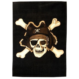 Skinz Design Black Skull Pirate Area Rug (5' x 7')