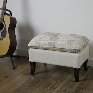 Loma Beige Latin Print Fabric Ottoman by Christopher Knight Home