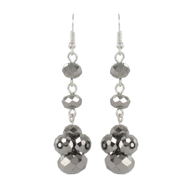 Roman Silvertone Faceted Faux Crystal Bead Dangle Earrings