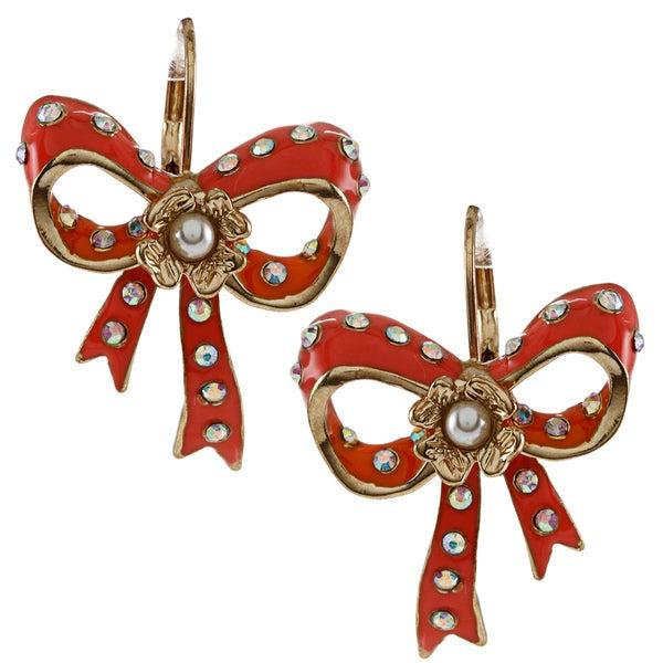 Betsey Johnson Bow Drop Dangle Earrings