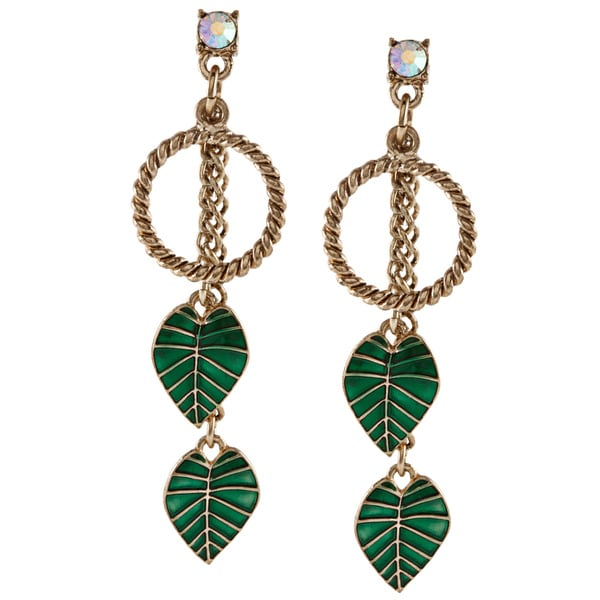 Betsey Johnson Leaf Drop Dangle Earrings