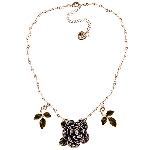 Betsey Johnson Pink Gitter Rose Pendant Necklace