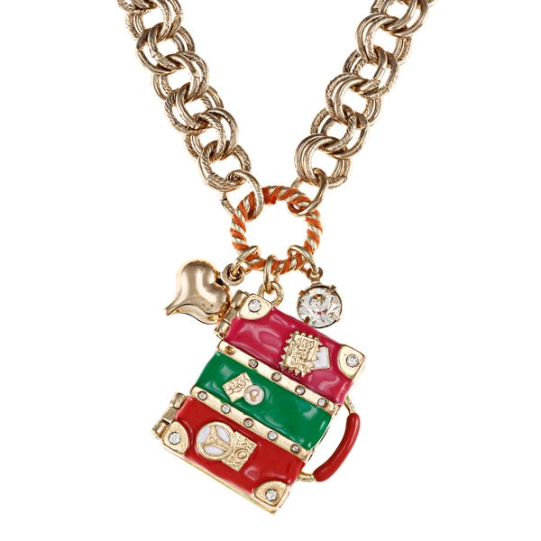 Betsey Johnson Suitcase Pendant Necklace