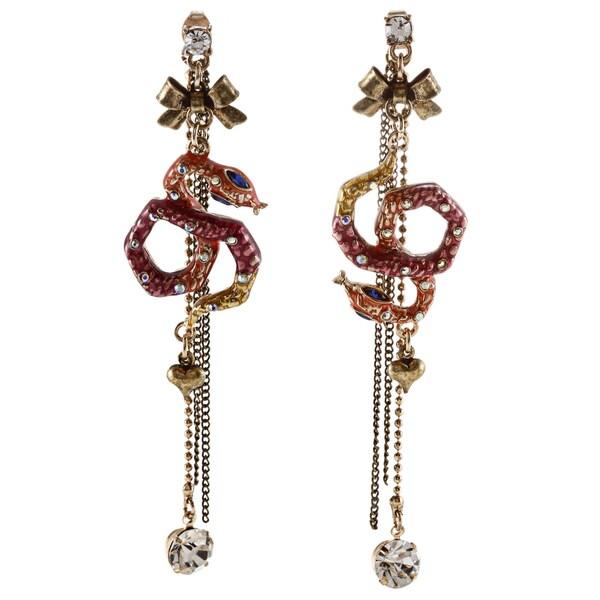 Betsey Johnson Wrap Snake Front/ Back Dangle Earrings