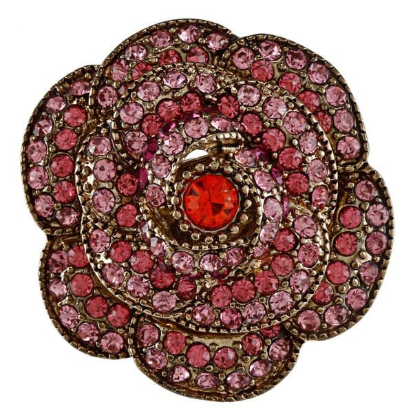 Betsey Johnson Large Pave Rose Stretch Fashion Ring